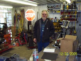 "Gary Haynes of the ""SIDECAR MAJIC SHOPPE"" in Buckhannon, W.VA. Gary is a master sidecar rigger and will modify my leading link front end to fit, and build a sub-frame to attach the sidecar to the R100RS."