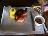 Grilled corn, smoked bbq half chicken, pinto beans, pecan pie & Dublin Dr. Pepper with cane sugar. YUM!