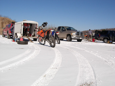 Setting up trail in the snow.
