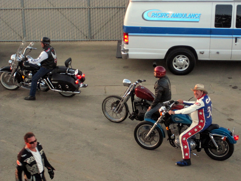 Lining up for the Harley parade around the race track