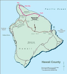 120 mile round trip, starting in Paauilo,  past Honoka'a, Ahualoa, and Waimea, through Hawi to Pololu Lookout, and back.