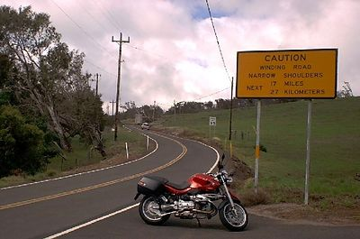Start of the high road to Hawi from Waimea