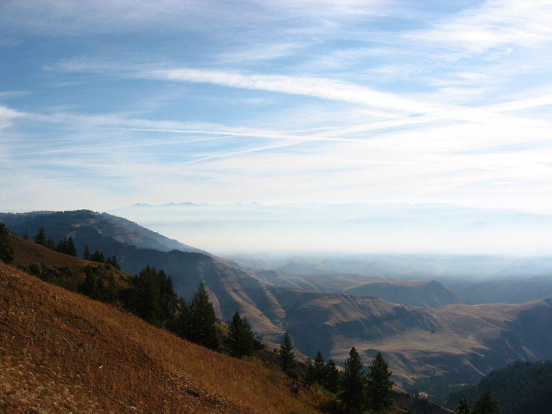 Smoke over Hell's Canyon. Road to overlook.