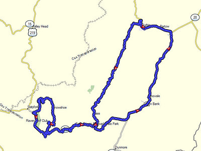 Friday's rain ride to Cass and Snowshoe.