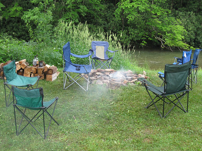 Campfire along the Greenbrier River.