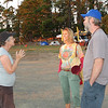 Round-the-worlder Kay Forwood is excitedly greeted by lovely HU11 hosts Mike and Sandy Dimond.
