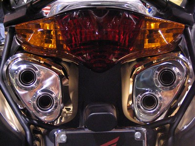 The rear of the VFR, lit from behind and underneath.