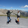The animated characters Alexd (left) and cousin Gary front the mountains up at Imogene Pass.