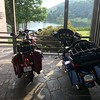 PoO lets bikes park in the portico.   My Indian shares the spot with a Harley