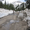 Camp Bird Rd has been plowed through to the Sneffels Mine.  Like us the jeep tour vehicles benefit from an open road.  We see two tour vehicles during our recon.