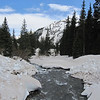 Bloated Sneffels Creek flows aggressively with snow melt.