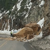 Route 550 near Engineer Pass Rd (Ouray, CO).  Terrain here is very unstable which presents obvious dangers to travelers.  It's a bench cut road so the other side drops off suddenly.  These rocks let go on April 17, 2011.  Luckily no one was in the way.  Photo courtesy of the L & J Sockwell archive.