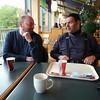 3de stopplaats om te eten aan Rastplatz Dammer Berge op de A1.<br /> Guido en Eric.
