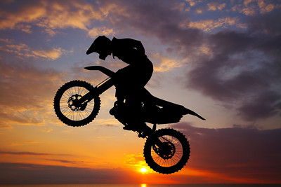 freestyle motocross at sunset