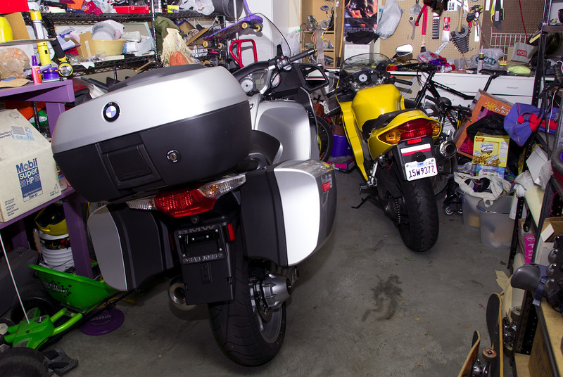 The RT takes its place in the garage.  The VFR is pretty tiny in comparison.