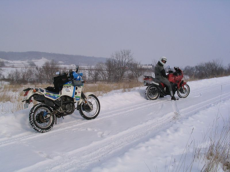 Both bikes, lane, Iowa, February