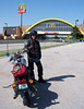 "My riding partner, Paul Frisbee.  We had never met before and ended up riding 1077 miles together.  He's a good partner and excellent rider.  He's on a Moto Guzzi California Stone.  We HAD to stop at the ""World's Largest McDonalds"" along the Will Roger's Turnpike in Oklahoma."