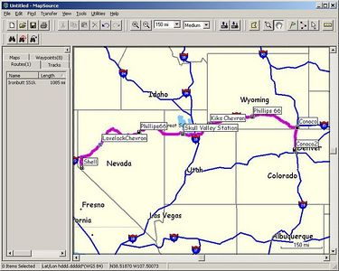 After spending a week at the Minden office, I decide to return to Denver in one day, enough riding to earn a Saddle Sore 1000 certificate from the Iron Butt Associaton.  Here's the route I took, with gas stops along the way.