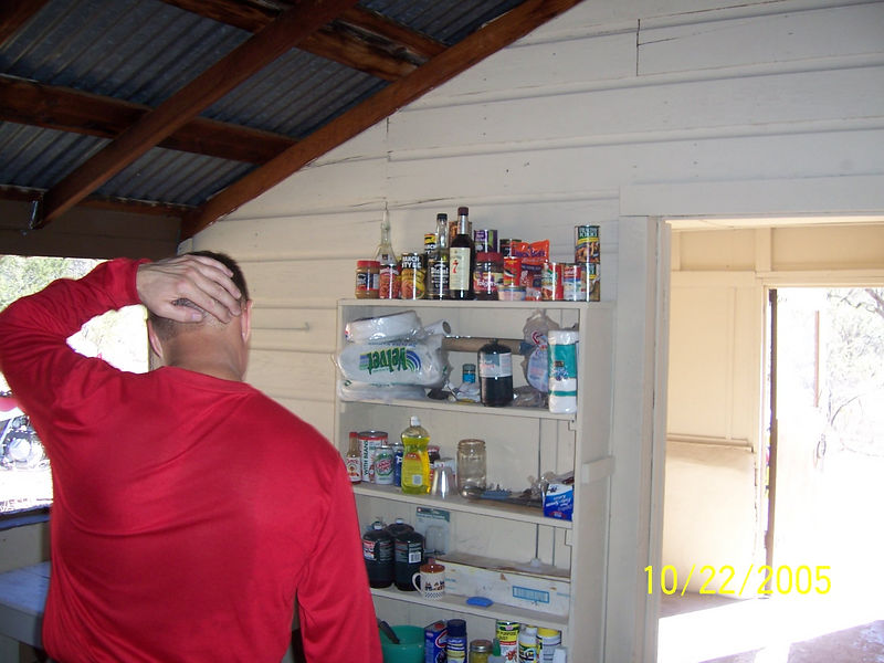 Jim checks out the well stocked pantry.