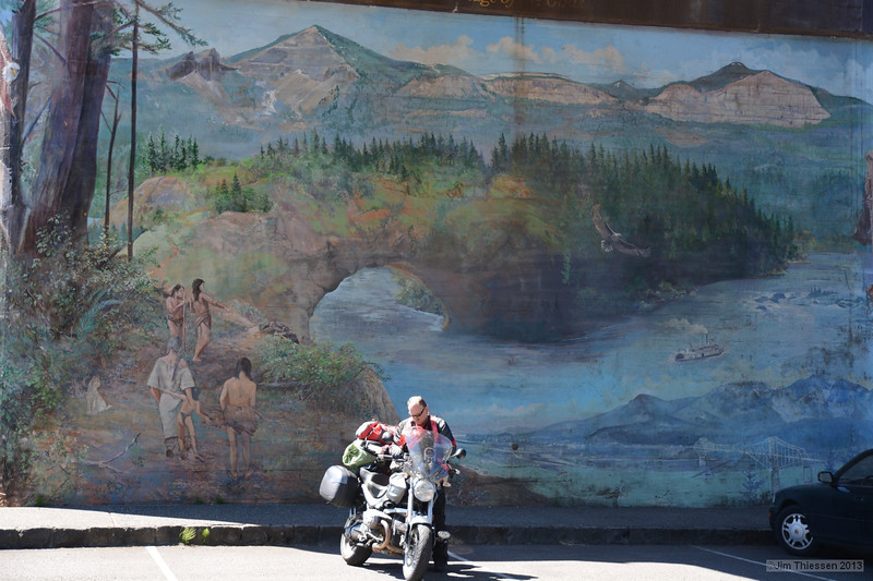 Mural at the Bridge of the Gods.  I met a number of bikers like this gentleman heading to Salem for the BMW bike rally.