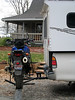 """Side view of Joe Hauler rack on Toyota Tundra with V-strom 650 and 12\"""" hitch extension."""