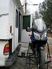 """Joe Hauler rack with 12\"""" extension leaves enough room to get behind the motorcycle and into the camper."""