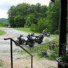 View from the porch at T.W.O.  The restaurant was closed, hence the lack of large numbers of bikes.  T.W.O. is known for making a really tasty hamburger, and I was disappointed that they were closed that day because I was waiting for my friend Jon who was really hungry.