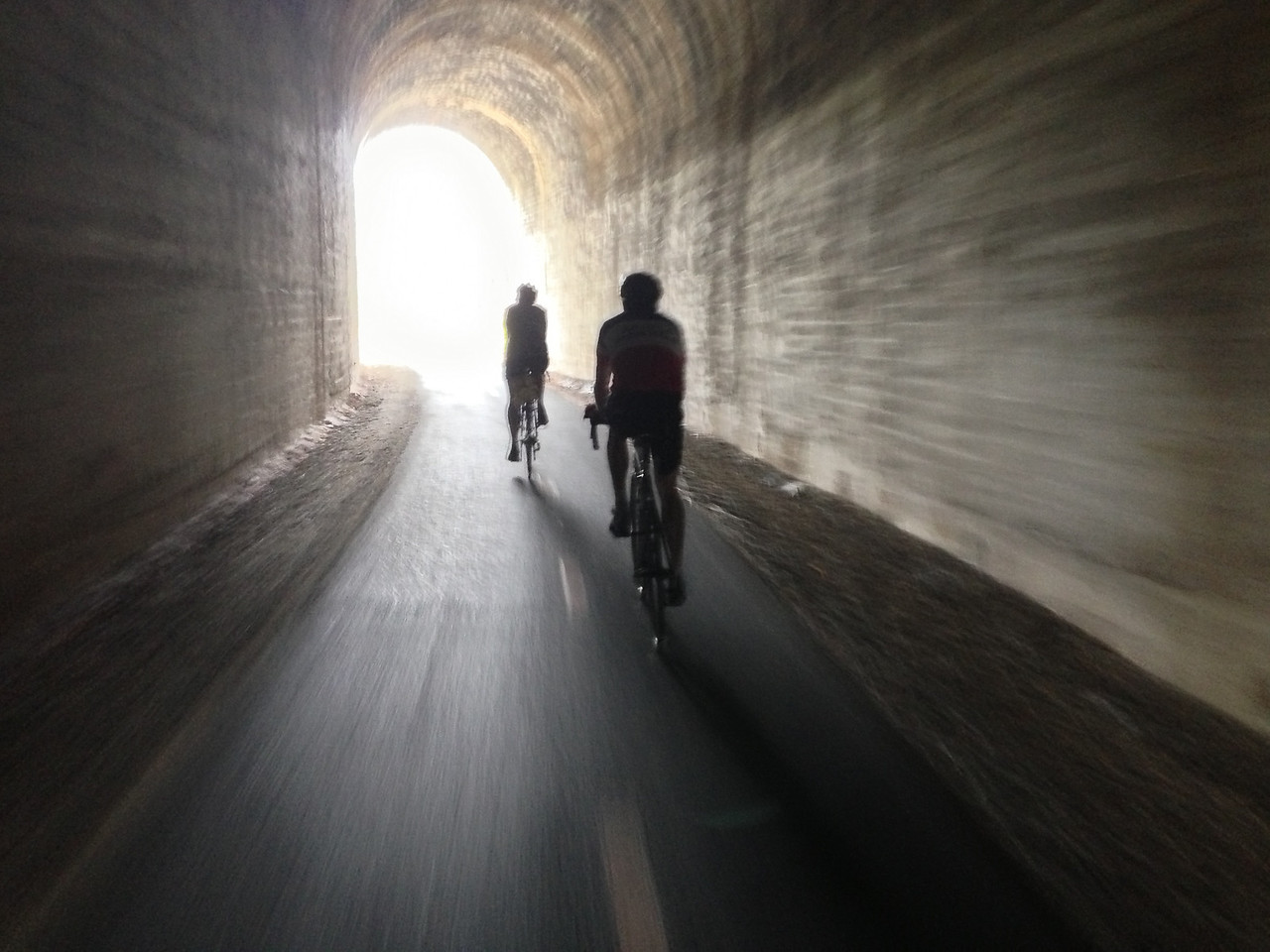 Elin and Guy riding to the light.