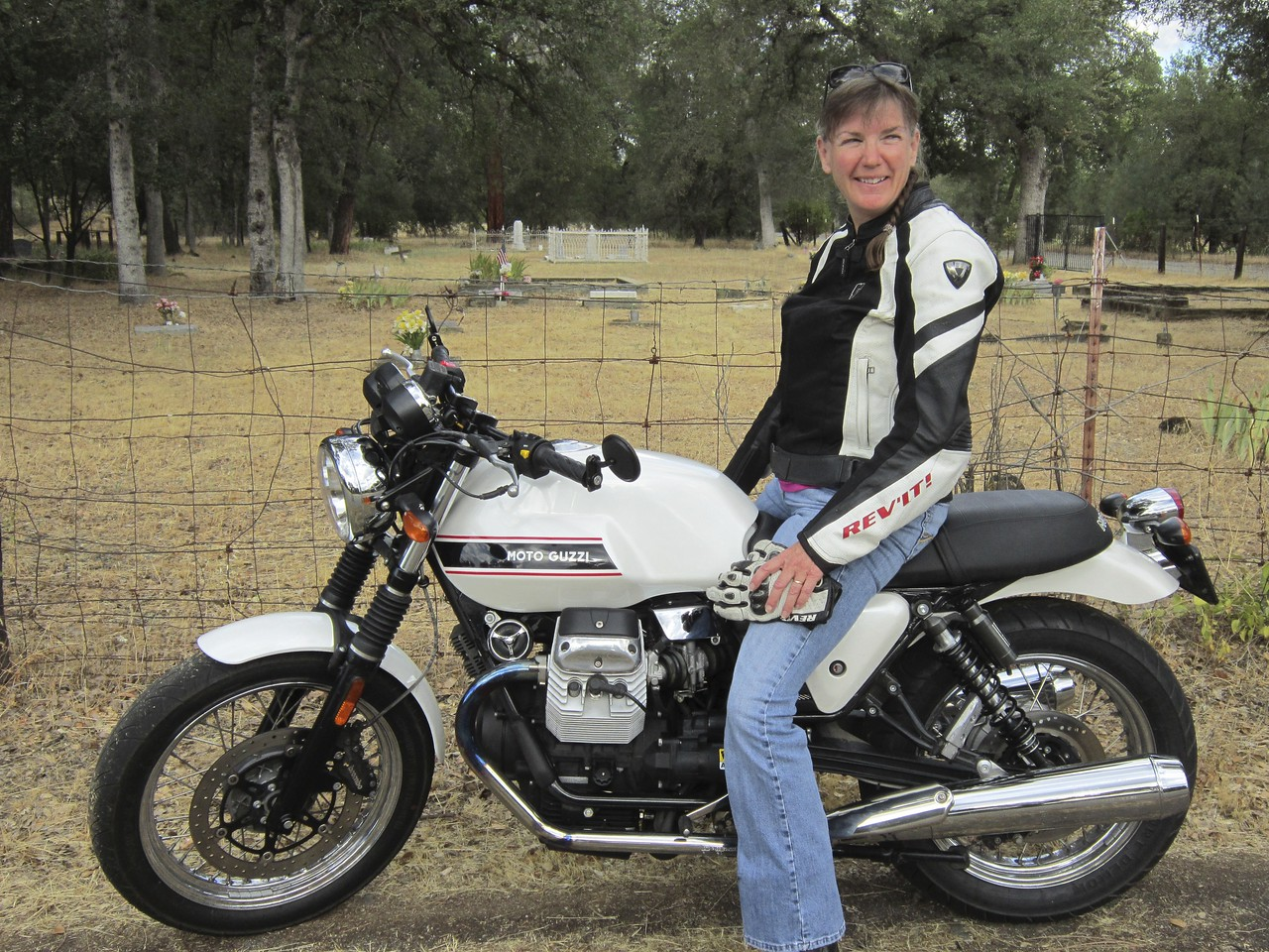 Took Guzzi #1 for a test spin.  The cafe version rides nicely!  Cafe items: rear shocks, fork gaiters, flat handle bar, bar end mirrors, bobbed rear fender, cafe seat on order.  Drivers pull alongside to look at it.  Now the hard part, finding a hip cafe in Redding.