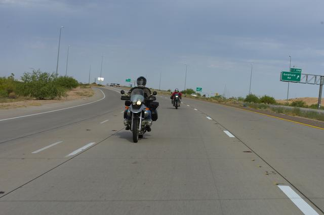 Escape!! Eastbound on Highway 60 and we weren't even running that late. Guzzler in front, azklrgirl (me) in back.