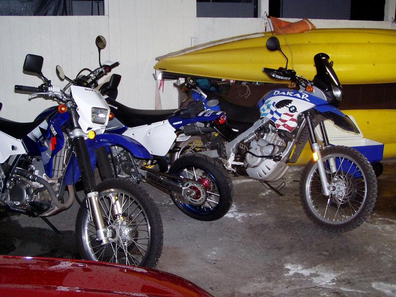 Three Blues, '02 Dakar, '04 DRZ-400S (buddy's), and '03 KLX with Blue Skin