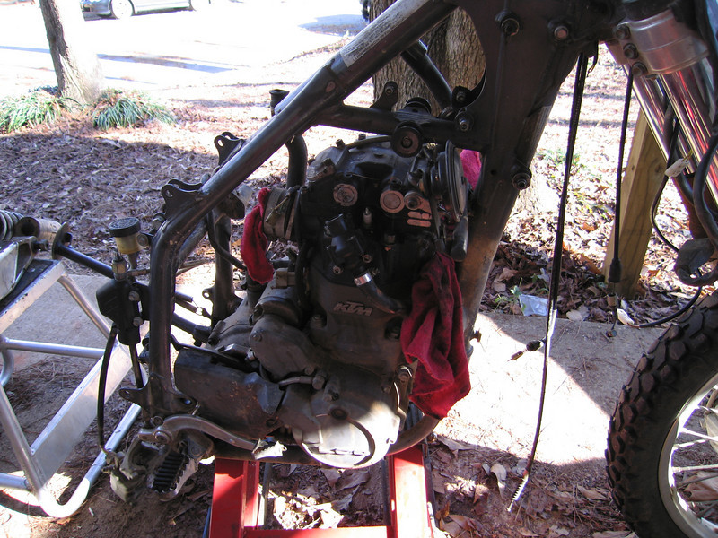Engine electrical harness removed