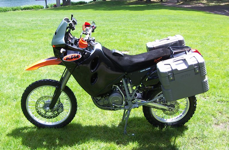 My 2003 KTM 640 Adventure. This is the paint and decal scheme as of 06-13-2005. Next month... who knows? Krylon is a wonderful thing. Taken at Wilderness park near my home.