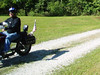 Joe rides out happy.