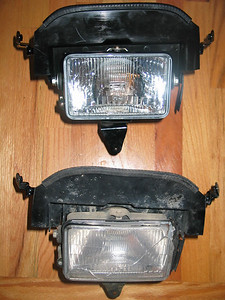 Old and new headlight