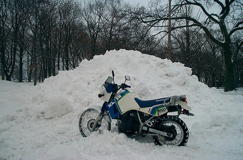 KLR 650 in the snow