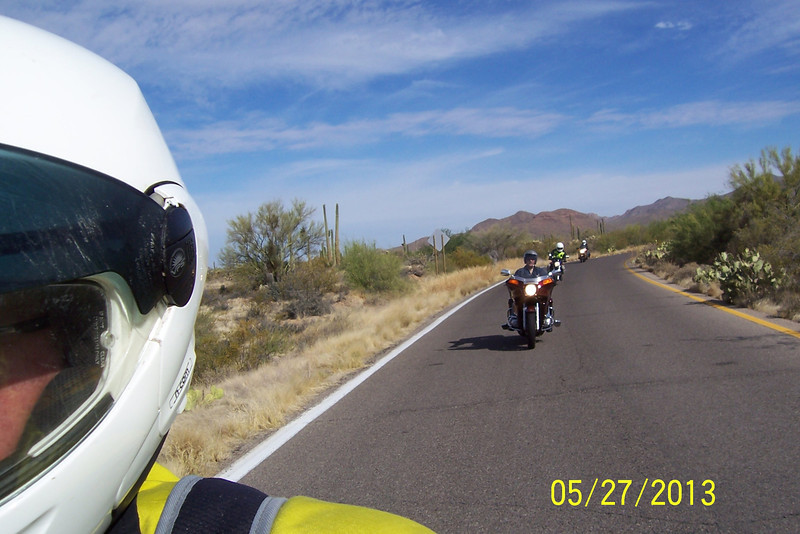 Seven years after my first ride to Kitt Peak, I did it again on my '98 KLR650. This time on the paved road with 3 street bike riders, Jerry (Kawasaki Concours), Ed ('83 Honda Gold Wing), and Jim (Suzuki SV650, I think).  The ride was arranged by Jerry.  We met at the AM/PM at Speedway and I10 at 8 AM. We first rode over Gates Pass to Kinney Road, then on Ajo until we reached the road to Kitt Peak.