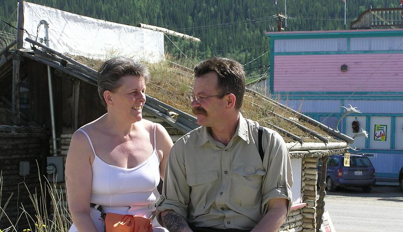 Our two adventurers taking a break in Dawson City