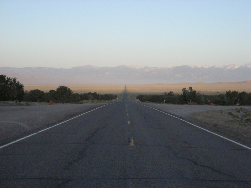 Morning across US-50 in Nevada and what awaits me for miles to come.