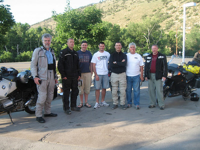 We met up at C470 & Morrison road and then caravaned to Buena Vista. Left to right = Karst, Bear, Leon, Joe, Scott, Simon and Jim.