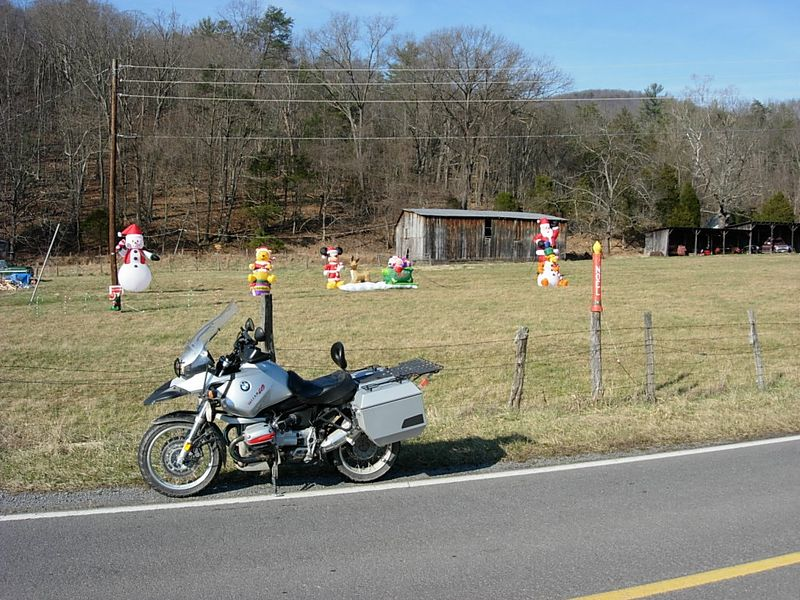 So it begins.  Heading south along South Fork Road into Pendleton county I spy plastic inflatables and other must-have Christmas goodies.
