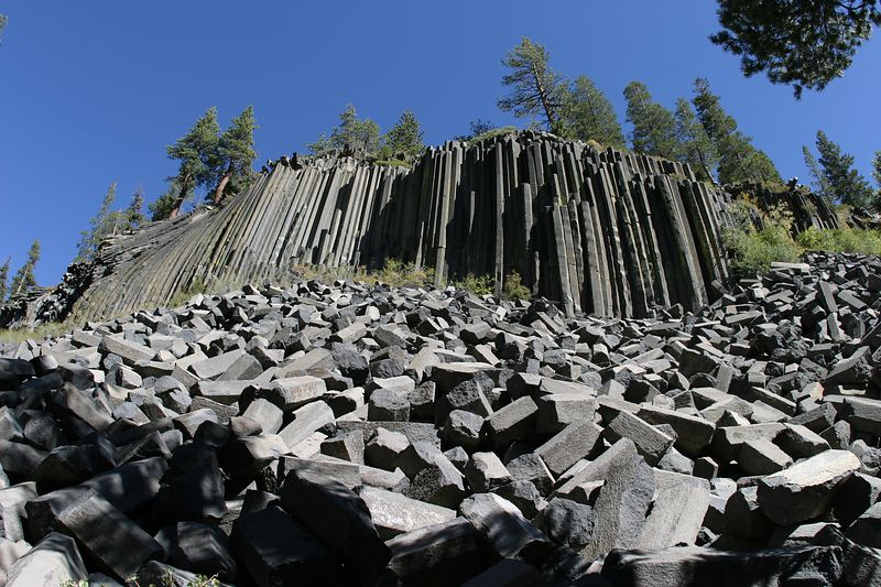 Devil's Post Pile.  A fine example of Columnar Jointing. Another example is near Healy Alaska.