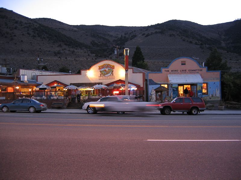"Lee Vining is a small town with a few hotels and fewer places to eat. Here's a view from my ""front door"" of Bodie Mike's BBQ.<br /> They apparently own Nicely's which is next door. Ok food at both places."