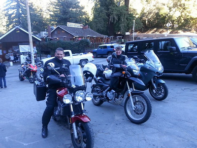 Breakfast at Alice's Restaurant in Woodside CA with rider friends Ralph and Regina. The place was full of riders. It was so refreshing to see so much motorcycle gear in one room. I'm usually the lone ATGATT guy in cruiserville. The food and the company were great.