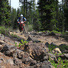 "Brian P. ""navigating"" the lava rock at speed on the BRP..."