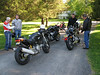 An eclectic mix:  Two cruisers, two sport bikes, two Hondas, one UJM and one duck.  6 bikes.