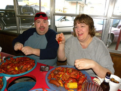 My favorite Vern pic.  Vern and Shelly enjoying mudbugs at the Crawfish Hole in Natchitoches!