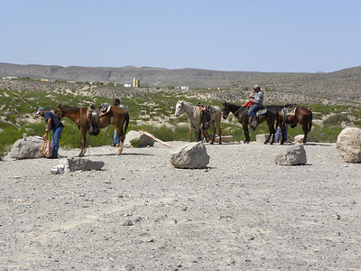 Boquillas Canyon overlook.  Boquillas residents setting up sell crafts in parking lot.