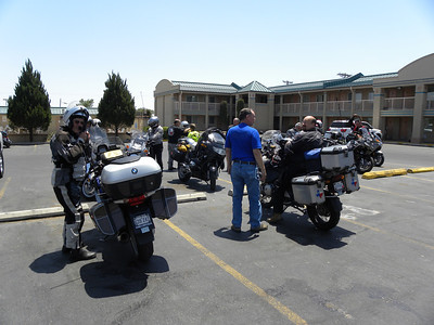 The remainder of the Lone Star BMW Riders arriving at motel in Roswell