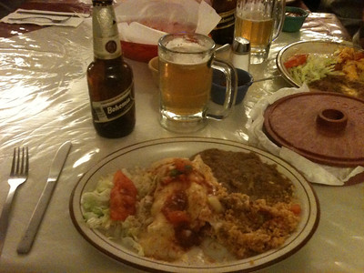 All of the food groups represented here...Beer, More Beer, and Enchiladas.  Oh, and more Beer.